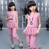 女童套裝夏裝新款韓版休閒套裝中大童兒童夏季短袖兩件套 mc6720『優童屋』
