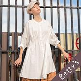betty's貝蒂思 圓領抽飾荷葉洋裝(白色)