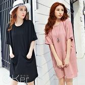 寬鬆棉麻中長款口袋短袖連衣裙 O-Ker DON801 2905-C