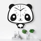 北歐掛鐘客廳靜音兒童房可愛時鐘臥室創意卡通熊貓藝術鐘表 FF1549【男人與流行】