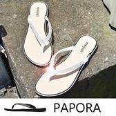 拖鞋.閃亮鑲鑽人字夾腳平底拖鞋【K702-6】黑色/白色(限量)