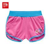 JJLKIDS 女童 Cute英字刺繡造型休閒短褲(玫紅)