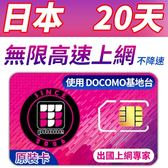 【TPHONE上網專家】日本DOCOMO 20天 無限4G高速上網卡 當地原裝卡 支援當地最高速