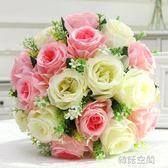 歐式模擬花套裝玫瑰絹花束花瓶餐桌假花幹花裝飾客廳茶幾盆栽擺件 韓語空間