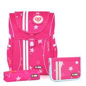 TigerFamily學院風超輕量護脊書包+文具袋+鉛筆盒--粉紅星星  【黃嘉千 夏天真心推薦】