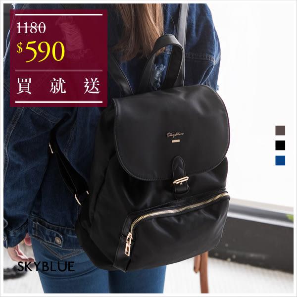 後背包-韓版skyblue原創設計前口袋束口尼龍後背包-共3色-A12121105-天藍小舖