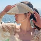 鴨舌帽 草帽女夏天手工珍珠沙灘草空頂帽女遮陽防曬太陽帽韓版網紅鴨舌帽寶貝計畫 上新