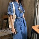 牛仔襯衫式洋裝短袖連身裙不含腰帶韓版【29-16-8L8622-21】ibella 艾貝拉