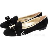 Salvatore Ferragamo SCOTTYPIPI 鑲邊蝴蝶結飾麂皮樂褔鞋(黑色) 1530426-01