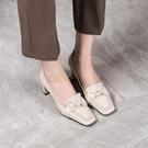 手工真皮女鞋34~41 2021新款小牛皮蝴蝶結方頭高跟鞋 OL工作鞋~2色