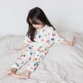 寶寶睡袋純棉薄款空調服雙層紗布防踢被短袖兒童連體睡衣女夏季