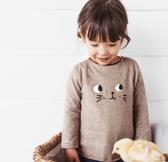 咖啡條紋刺繡眼睛長袖上衣 長袖上衣 薄長袖上衣 女童 橘魔法 現貨 童裝