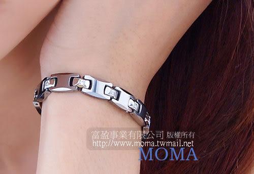 【MOMA】鎢鋼鍺磁手鍊-至尊鑲鑽版對鍊-M82D-情人對鍊