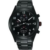 agnes b. 巴黎城市風尚計時手錶-黑/40mm VD57-KT20SD(BM3011X1)