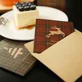 【BlueCat】聖誕節雪花鹿角格紋卡片信封
