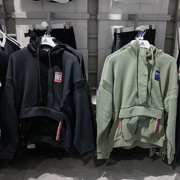 ISNEAKERs adidas ADVENTURE 連帽衛衣 黑色 軍綠GV0929