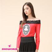 【SHOWCASE】蕾絲平口領條紋圖案短袖T恤(紅)