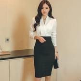 職場女裝OL名媛氣質女神范衣服春裝女2019新款時尚黑白拼接連身裙