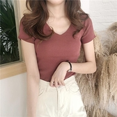 T恤-T恤女夏裝V領冰絲針織短袖丅恤韓版潮學生修身顯瘦半袖體桖上衣服