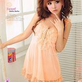 睡衣 性感睡衣 星光密碼【D002】寬版蕾絲肩帶粉橘絲緞睡衣性感睡衣