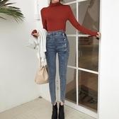 新品時尚女裝復古單排扣牛仔褲韓版高腰修身彈力小腳褲九分鉛筆褲
