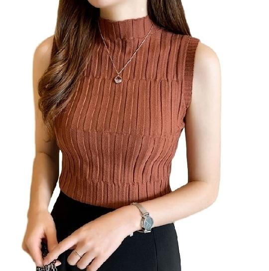 EASON SHOP(GW6190)韓版復古純色直條紋短版小高領無袖針織衫背心女上衣服彈力貼身內搭衫閨蜜裝紅黃