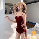 連體泳衣女夏性感酒紅色學生保守小胸聚攏顯瘦溫泉游泳衣【慢客生活】