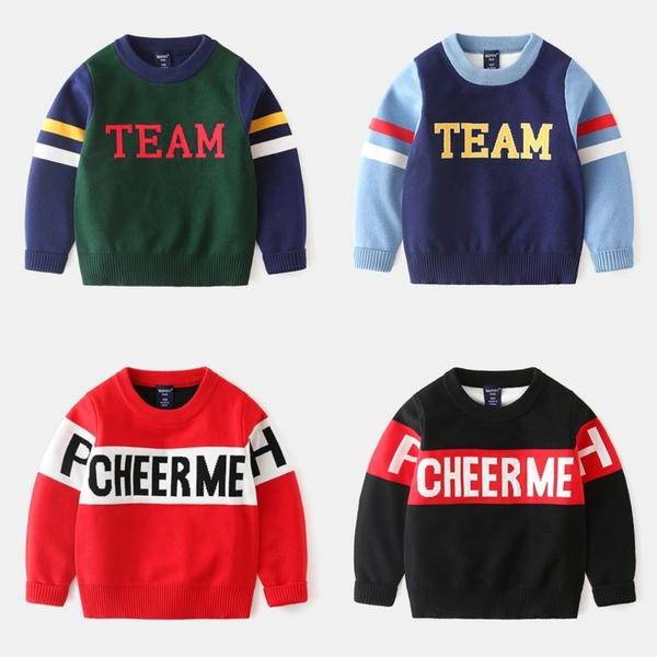 *╮小衣衫S13╭*兒童時尚拼色字母長袖針織毛衣1081013