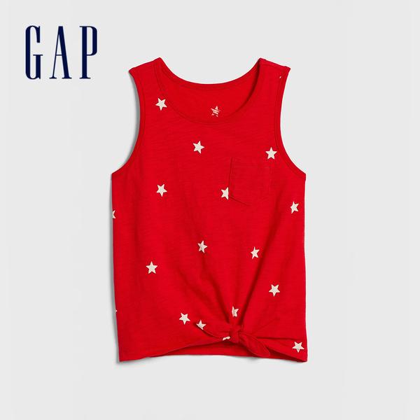 Gap 女童 清爽條紋圓領無袖上衣 577853-正紅色