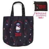 〔小禮堂〕Hello Kitty 折疊尼龍環保購物袋《黑.寫字》手提袋.環保袋 4550337-32524