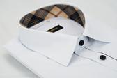【金‧安德森】經典格紋繞領門襟鑲格白色窄版長袖襯衫