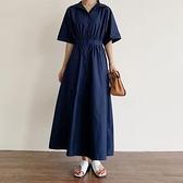 洋裝短袖裙子S-2XL新款韓國修身顯瘦長款喇叭形短袖連身裙襯衫裙GB108C-7773.胖胖唯依