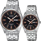 CASIO 卡西歐 城市日曆情侶手錶 對錶-黑x銀 MTP-1335D-1A2V+LTP-1335D-1A2V