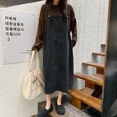 牛仔洋裝黑色牛仔背帶裙女長款過膝學生2021秋季新款韓版減齡復古連身裙潮 伊蒂斯