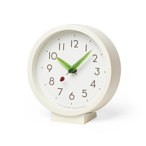 日本 Lemnos Perch Tento Mini Table Clock 15cm 巧合系列 昆蟲樹葉造型 小型桌鐘 / 壁鐘(瓢蟲款)