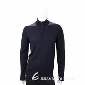 TRUSSARDI 拉鍊立領撞色細節深藍色針織羊毛衫 1710685-34