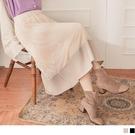 《CA2211-》鏤空蕾絲雕花拼接皮革裙襬全腰鬆緊A字長裙 OB嚴選