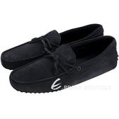 TOD'S Gommino 麂皮綁帶休閒豆豆鞋(男鞋/夜藍色) 1240500-85