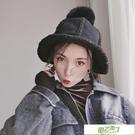 造型帽 羊羔毛漁夫帽女ins韓國雙面麂皮絨盆帽秋冬季正韓可愛毛球帽子
