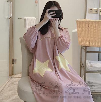 睡裙女春秋季純棉長袖薄款寬鬆加大碼胖mm睡衣女士夏天孕婦家居服