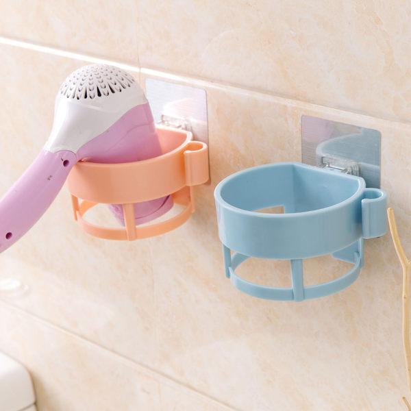 【無痕圓型架】免釘免鑽吹風機收納架 強力吸附置物架 浴室壁掛吹風機的家