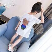 女童短袖t恤潮新款童裝夏裝中大童卡通打底衫中長款兒童半袖歐歐歐流行館