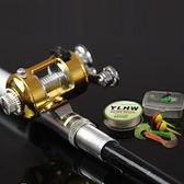 鋼筆鋁合金鼓式輪迷你小釣竿 1米 蝦竿口袋魚竿 送全配件組 鋼筆竿+鼓式捲線器+釣線+釣鈎+假餌