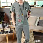 中國風棉麻套裝短袖T恤復古風九分褲男裝刺繡民族盤扣唐裝潮 CJ4110『易購3c館』