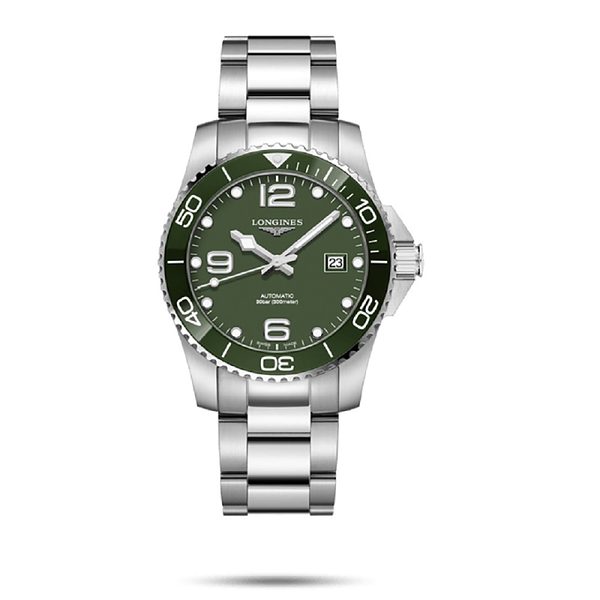 LONGINES 浪琴深海征服者浪鬼陶瓷潛水機械錶 L37814066 綠x銀41mm