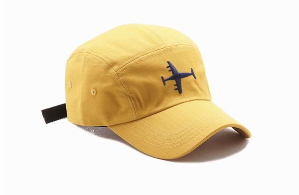 OT SHOP帽子 五分割帽 飛機刺繡春夏棉質透氣棉質扁帽棒球帽 穿搭配件黑 灰 黃 現貨 NC2083