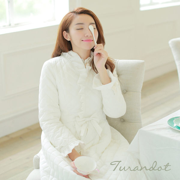 睡衣 古典奢華 厚棉長袖前扣式睡袍(米白色)杜蘭朵[S13054-02]