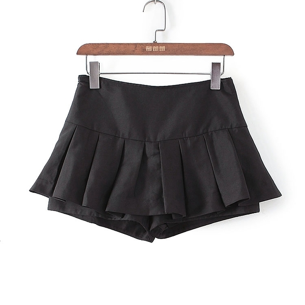 [超豐國際]帛春夏裝女裝黑色裙擺褶皺百搭短褲 40595(1入)