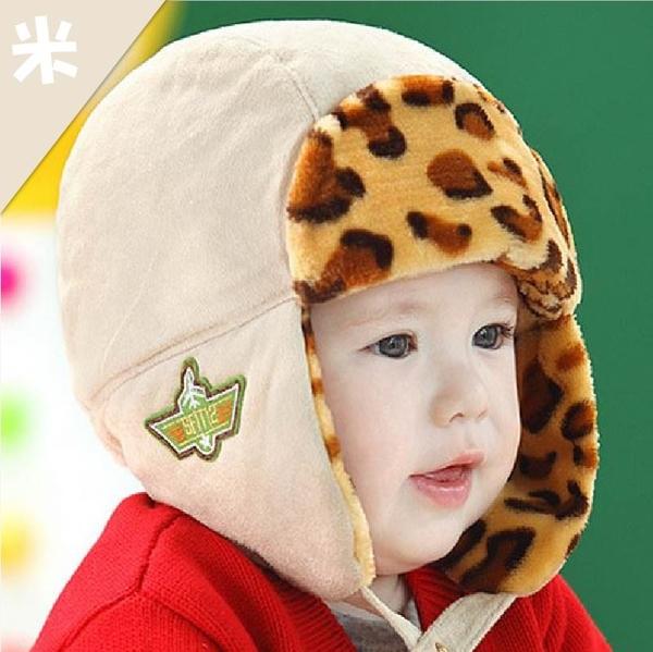 [新年戴新帽]秋冬仿鹿絨皮+豹紋寶寶 保暖童帽 護耳帽 時尚 禦寒【JD0036】