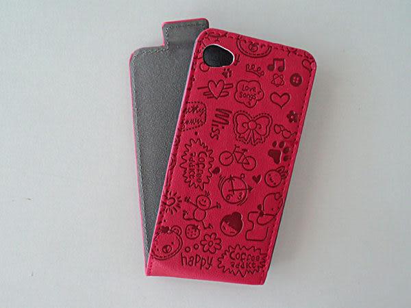 ○IPhone4S  立體 超Q 塗鴉 保護套 Apple IPhone 4S IP4S 壓紋 下掀皮套/掀蓋式/保護殼/手機殼/手機套